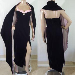 VTG ROBERTA Black Velvet/Pink Party Gown/Robe